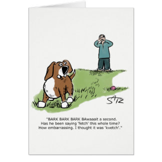 Funny dog playing fetch in dog park greeting card. card