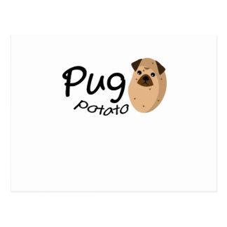 Funny Dog Pug Potato Gift Lover Pets Puppy Postcard