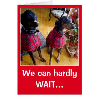 Funny dog Santa treat Christmas greeting card