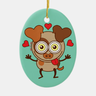 Funny dog showing hearts and feeling lucky in love christmas ornaments