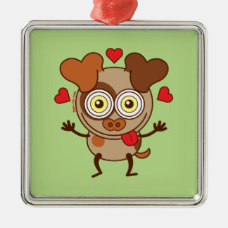 Funny dog showing hearts and feeling lucky in love ornament