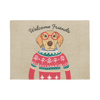 Funny Dog Wearing Glasses, Ugly Christmas Sweater Doormat