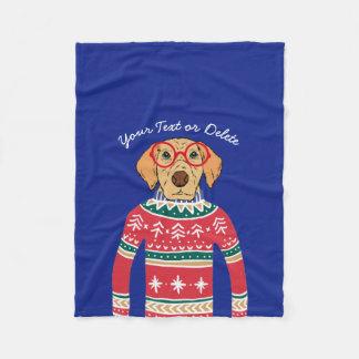 Funny Dog Wearing Glasses, Ugly Christmas Sweater Fleece Blanket