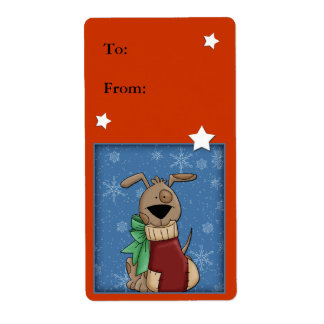 Funny dog with Christmas stocking Shipping Label