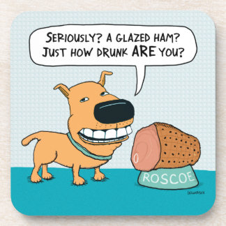 Funny Dog With Drunk Owner Drink Coaster