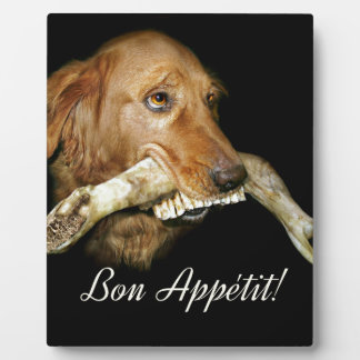 Funny Dog with Horse's Teeth Bone Plaque