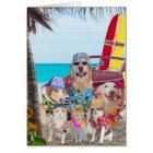 Funny Dogs/Cats Hawaiian/Surfer Birthday Card