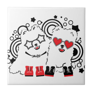 Funny dogs. Cute animal festive cool design Ceramic Tile