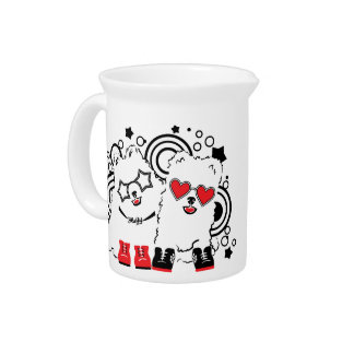 Funny dogs. Cute animal festive cool design Pitcher