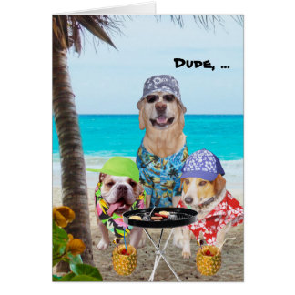 Funny Dogs/Lab in Hawaiian Shirts on Beach Card