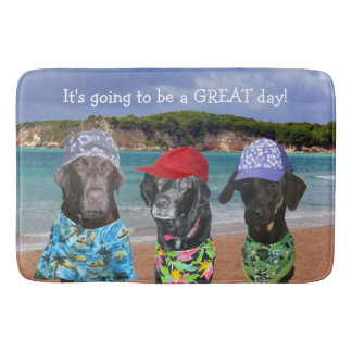 Funny Dogs on the Beach Bath Mat Bath Mats