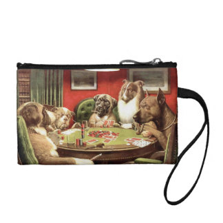 Funny Dogs Playing Poker Coin Purse Wristlet