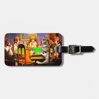 Funny Dogs Playing Poker Luggage Tag