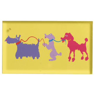 Funny dogs with lead place card holder
