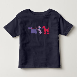 Funny dogs with lead. toddler T-Shirt