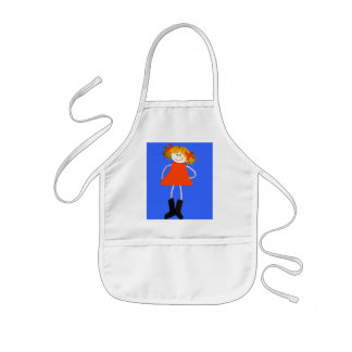 Funny doll with ponytails Apron