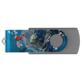 Funny dolphin jumping by a heart made of water swivel USB 2.0 flash drive