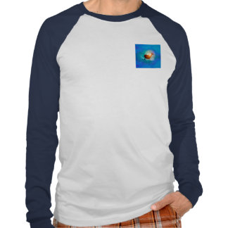 Funny dolphin on blue background with clouds t-shirt