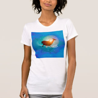 Funny dolphin on blue background with clouds tee shirts
