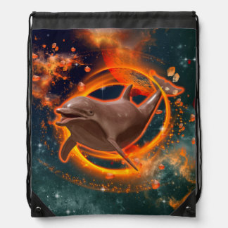 Funny dolphin swimming in the universe rucksack