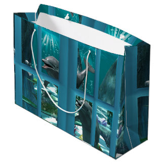 Funny dolphins large gift bag