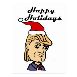 Funny Donald Trump in Santa hat Christmas Cartoon Postcard