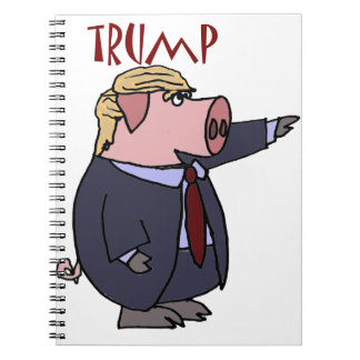 Funny Donald Trump Pig Political Cartoon Spiral Notebook