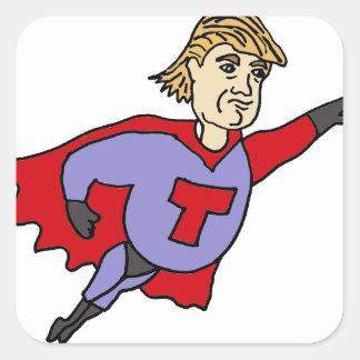 Funny Donald Trump Super Hero Cartoon Square Sticker