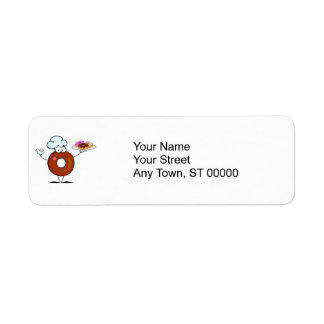 funny donut donut chef cartoon character return address label