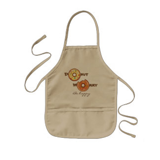 "Funny ""Donut worry, be happy"" Kids Apron"