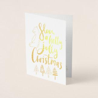 Funny Doodle Holly Jolly Christmas Golden Foil Card