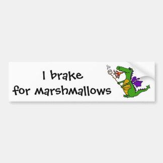 Funny Dragon Roasting Marshmallows Cartoon Bumper Sticker