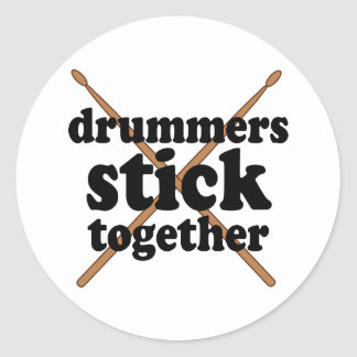Funny Drummer Classic Round Sticker