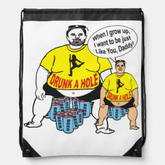 Funny Drunk Father Like Son Drawstring Backpack