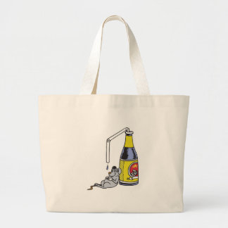 funny drunk mouse large tote bag