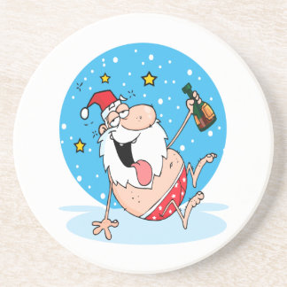 funny drunk santa on vacation coaster