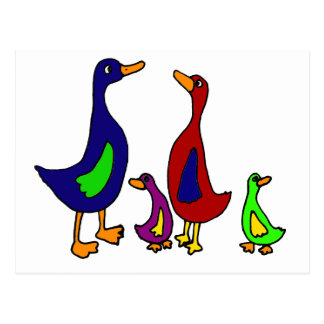 Funny Duck Family Cartoon Postcard