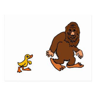 Funny Duck Following Bigfoot Cartoon Postcard