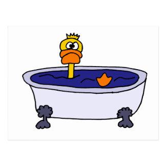 Funny Duck in a Bathtub Cartoon Postcard