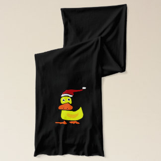 Funny Duck in a Santa Hat Christmas Scarf