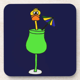 Funny Duck in Tropical Drink Beverage Coaster