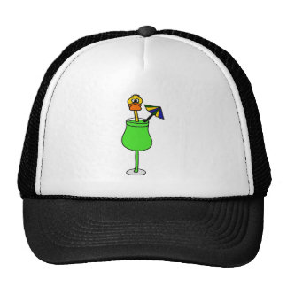 Funny Duck in Tropical Drink Mesh Hat