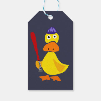 Funny Duck Playing Baseball Cartoon Gift Tags