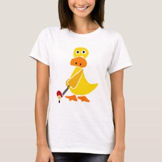Funny Duck Playing Golf Primitive Art T-Shirt