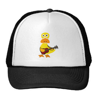 Funny Duck Playing Guitar Primitive Art Cap
