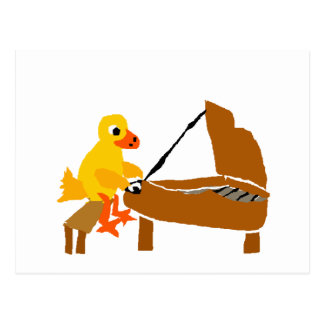 Funny Duck Playing Piano Art Postcard