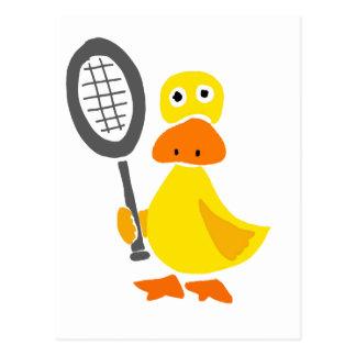 Funny Duck Playing Tennis Cartoon Postcard