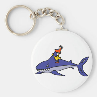 Funny Duck Riding Shark Cartoon Key Ring