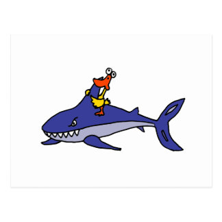 Funny Duck Riding Shark Cartoon Postcard