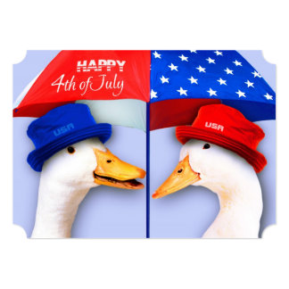Funny Ducks 4th of July Party Custom Invitations